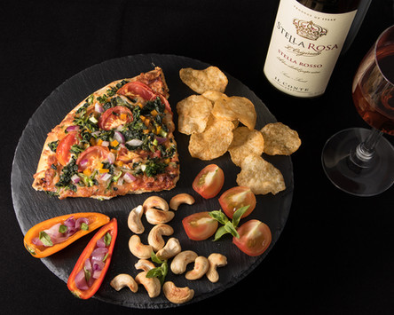 Appetizing snack platter with red wine, hawaii food & drink photography