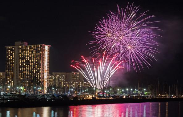 Beautiful fireworks in Hawaii