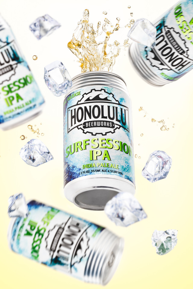 Honolulu Surf IPA, Hawaii product advertising photography
