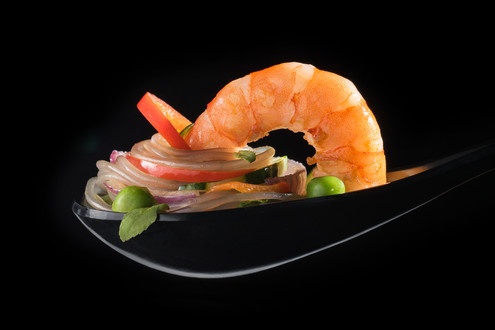 Delightful and colorful shrimp spoon, hawaii food & drink photography