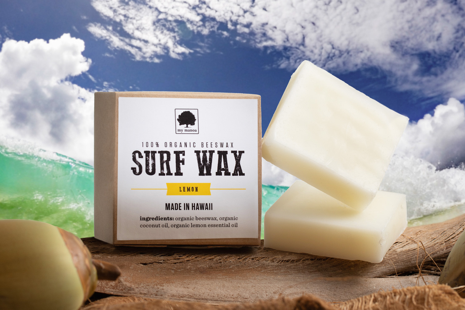Composite Image (surf soap, beach, coconut, ocean, water))