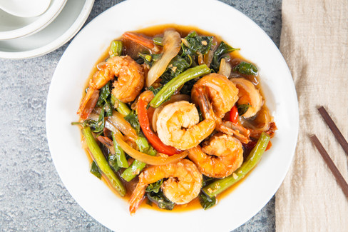 Shrimp with Chili Basil, hawaii food & drink photography