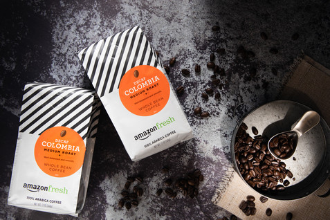 Coffee bags and coffee beans, creative style