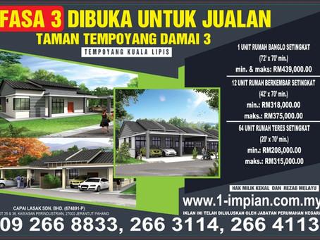 Taman Tempoyang Damai Fasa 3 @ Kuala Lipis - Sudah Habis Dijual!!