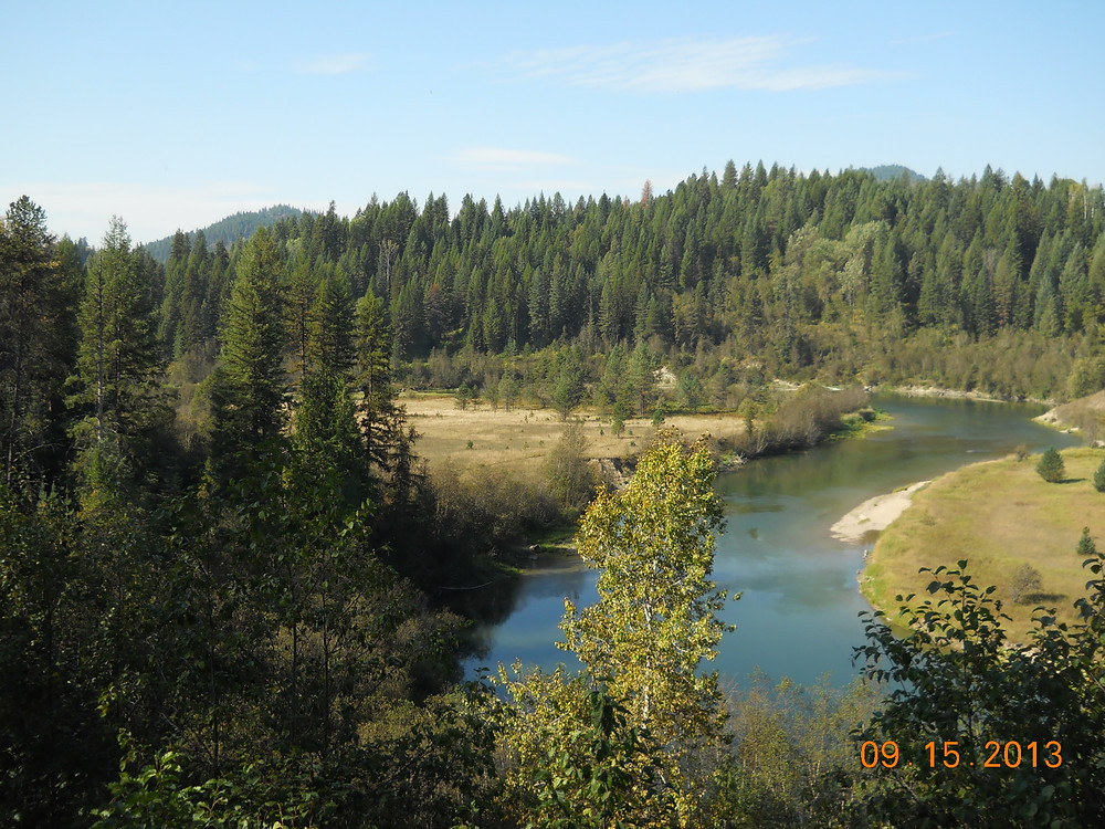 View of Priest River and Rundquist property protected with a conservation easement