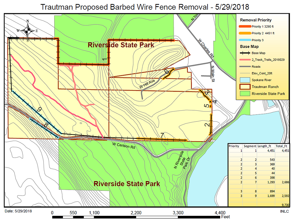 Map of Trautman Ranch area - with barbed wire to be removed