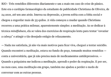 Mindfulness no Jornal o Globo