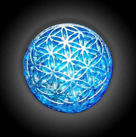 Pocket Flower of Life Disc - Blue
