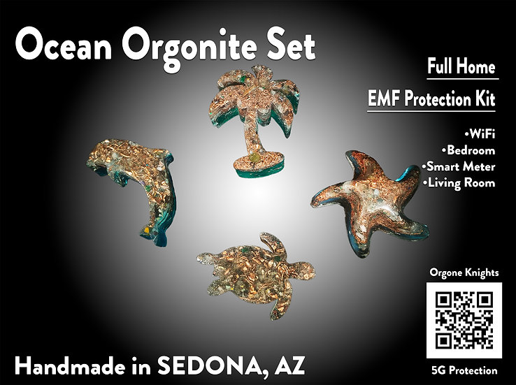 Ocean Orgonite 4 Piece Set - Home EMF Protection