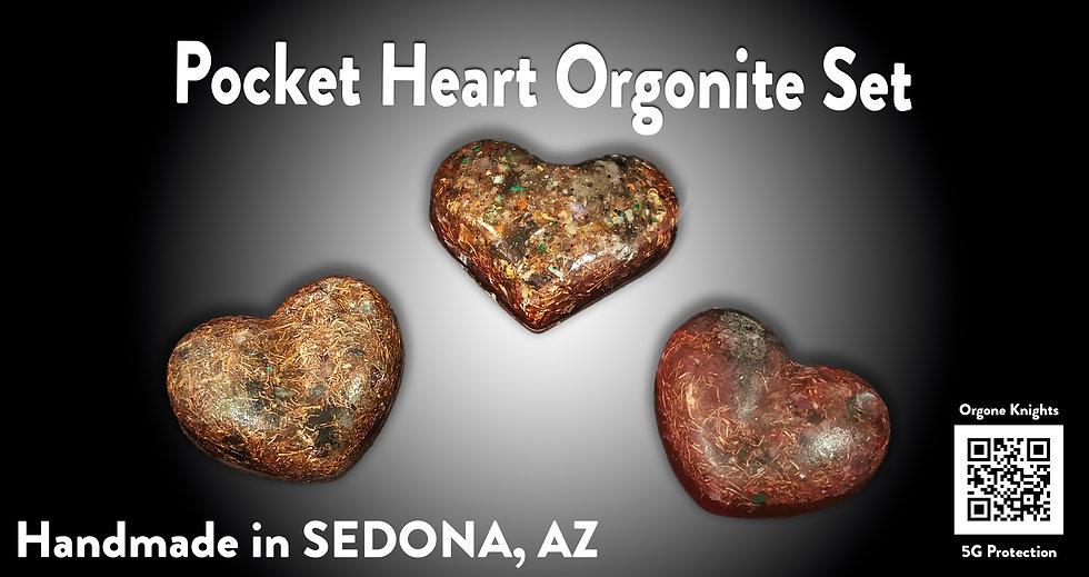 Pocket Heart Orgonite 3 Piece Set - Personal EMF Protection