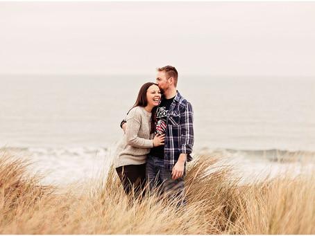 JENNY & CHRIS' BEAUTIFUL NEW YEAR BEACH PRE WEDDING SHOOT   BAMBURGH, NORTHUMBERLAND