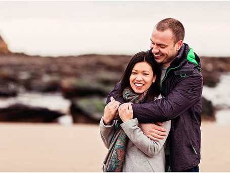 SARAH & OLLIE'S SEASIDE PRE WEDDING SHOOT   KING EDWARDS BAY, NORTHUMBERLAND