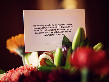 A WONDERFUL THANK YOU WITH VANDELLA FLOWERS | NORTHERN WEDDING PHOTOGRAPHER