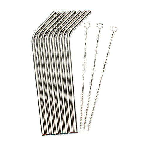 8x Stainless Steel Straws 21cm + 3 Cleaners