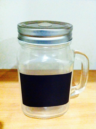 Glass jar with screw on lid (fits glass, steel and reed straws)