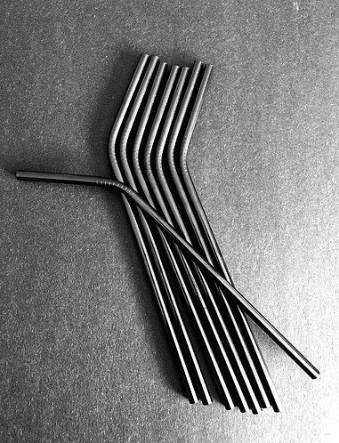 Midnight Black Stainless Steel Straw 21cm/0.6cm diameter