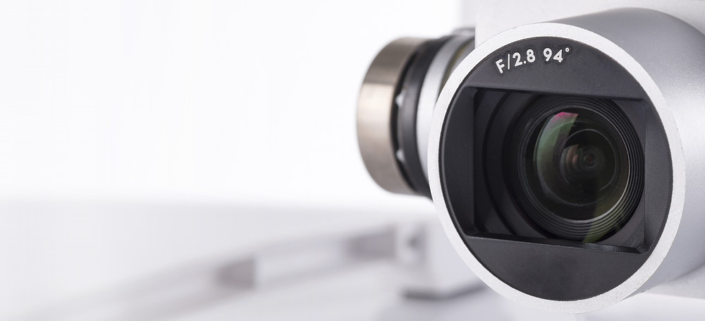 a closeup photo of the lens of a DJI Phantom camera