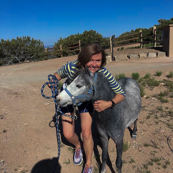 Liz Delfs, Executive Director, hugs a small gray horse whose head leans into her.