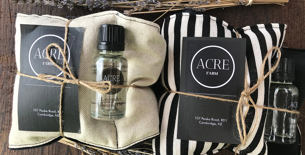 Lavender wheat bag and essential oil set