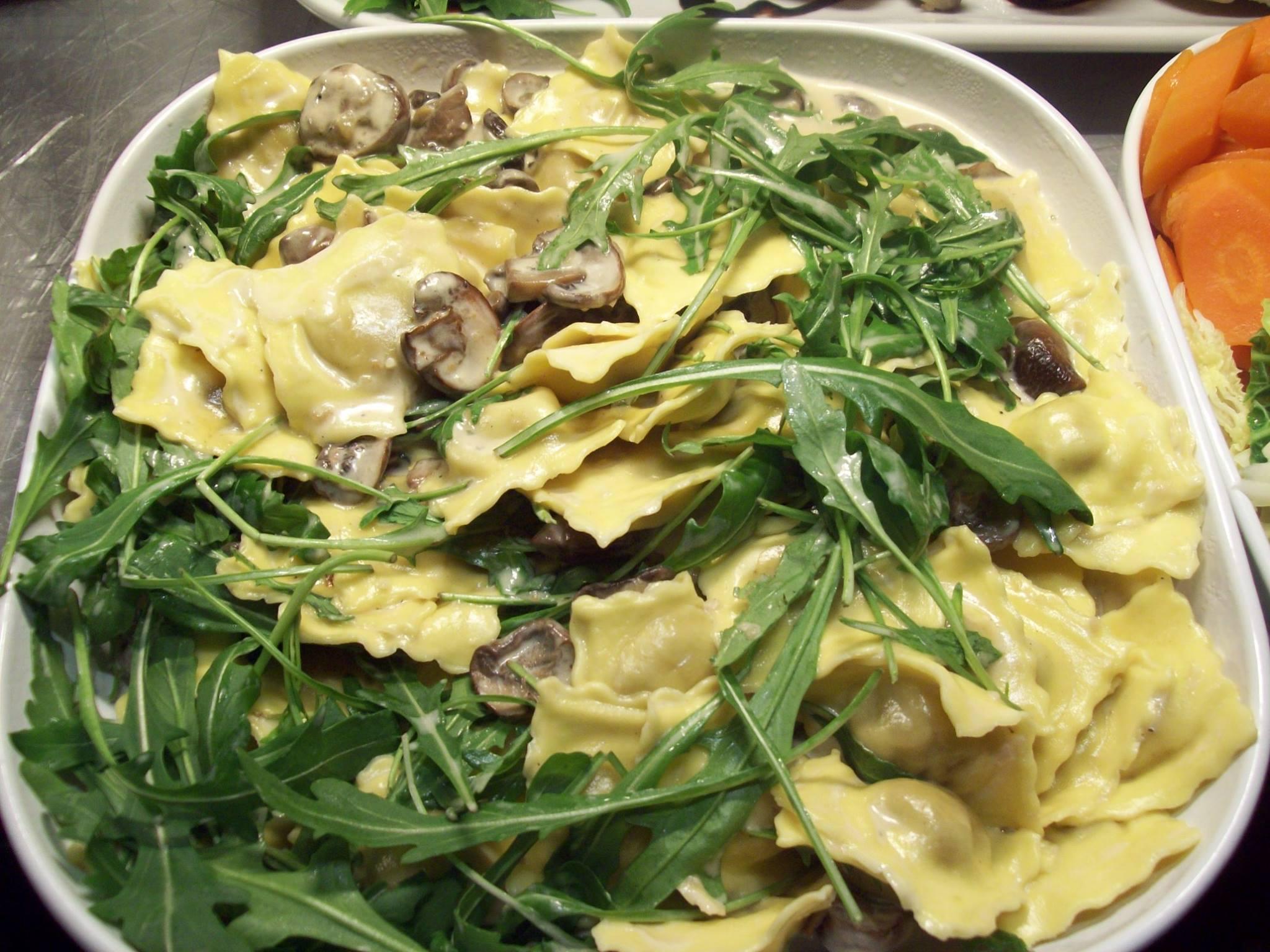 Fresh mushroom ravioli