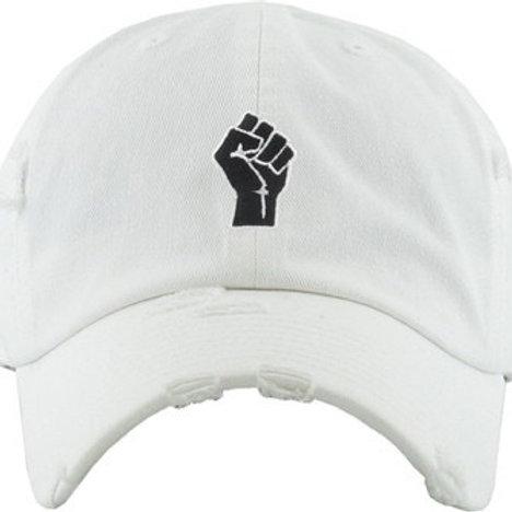 Black Power Distressed Dad Hat