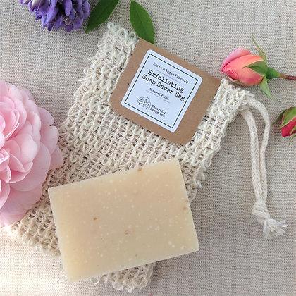 Handmade Coconut & Ylang Ylang Soap + Exfoliating Soap Bag