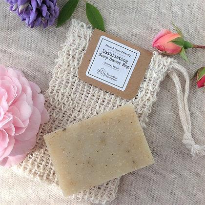 Handmade Grapefruit & Mandarin Soap + Exfoliating Soap Bag