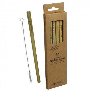 Bamboo Straws, reusable set/6+brush