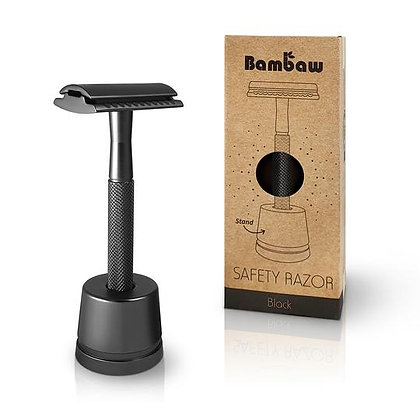 Black Metal Safety Razor with Stand - Bambaw