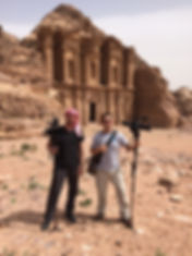 Damon Evans shooting video at Petra in Jordan