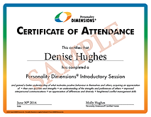 Personality Dimensions Certificate of Attendance