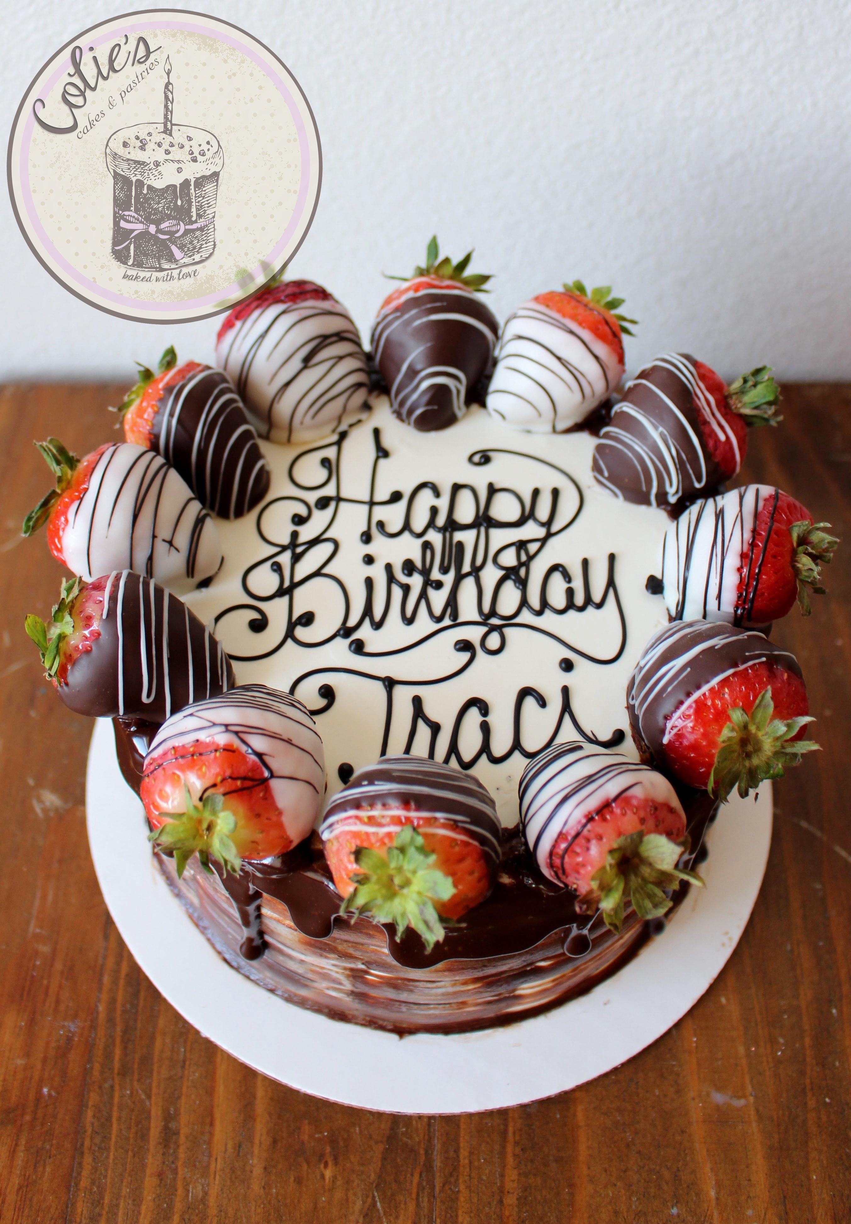 Chocolate Dipped Strawberries Cake 21st Birthday