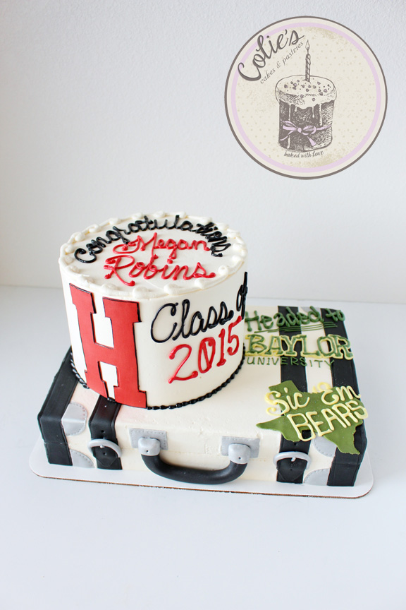 Graduation suit case cake