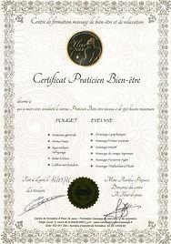 Certificat chouchot'eve/you massages bien-être
