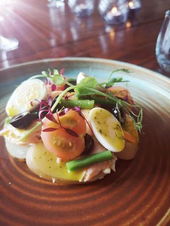 Hot Smoked Salmon Nicoise - Green Beans - Black Olives - Confit Potato - Anchovy - Quail's Egg