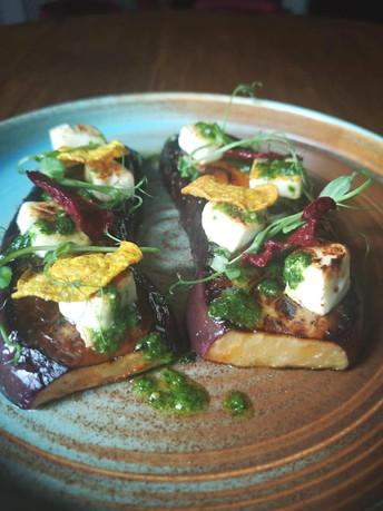 Aubergine Steak - Spinach Pesto - Charred Feta - Beetroot Crisp