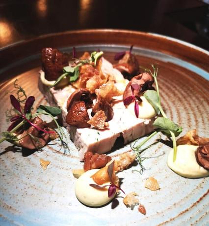 Chicken & Tarragon Terrine - Pickled Mushroom - Crispy Chicken Skin - Tarragon Mayonnaise