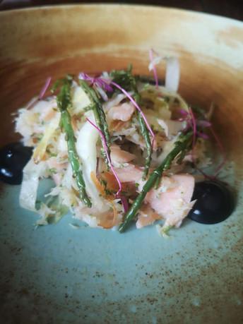 Hot Smoked Salmon & Hand Picked Cornish Crab - Chicory - Pickled Samohire - Lemon Oil - Squid Ink Mayo