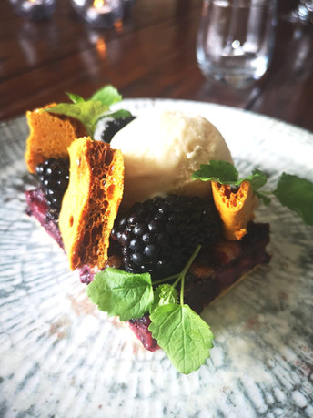 Kentish Blackberry Tart - Almond Ice Cream - Amaretto Soused Blackberry - Honeycomb