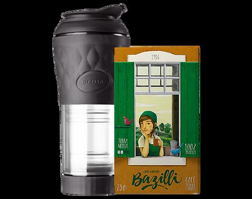 KIT | Cafeteira Portátil Pressca - Preta - 350ml  + Café Torrado e Moído