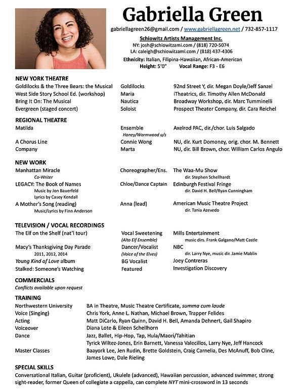 Gabriella Green- Resume (April 2021) (1)