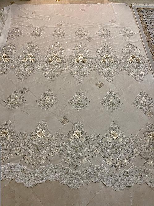 Тюль с 3D рисунком, камнями и жемчугом