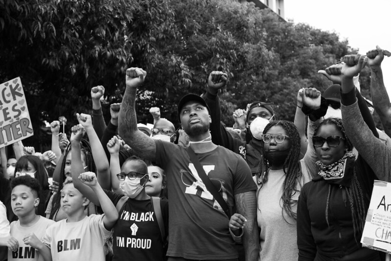 """""""Damian Lillard at the Black Lives Matter march in Portland"""" by Matthew Almon Roth is licensed under CC BY-NC 2.0"""
