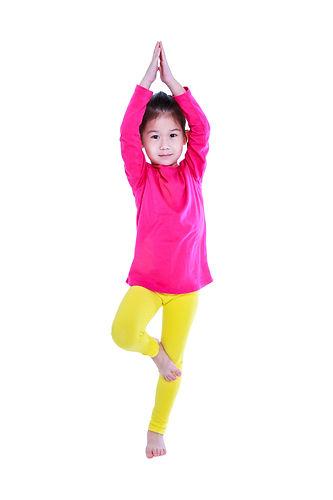 Full body of asian pretty child smiling