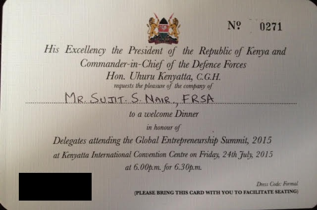 Dinner with Kenyan President