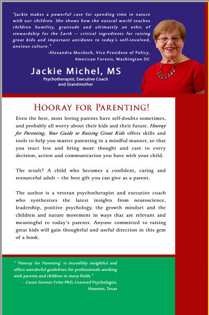 "Back Cover for Jackie's book ""Hooray for Parenting! Your Guide to Raising Great Kids"""