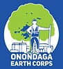 Logo for the Onondaga Earth Corps showing a young worker in front of a tree he has planted in the city