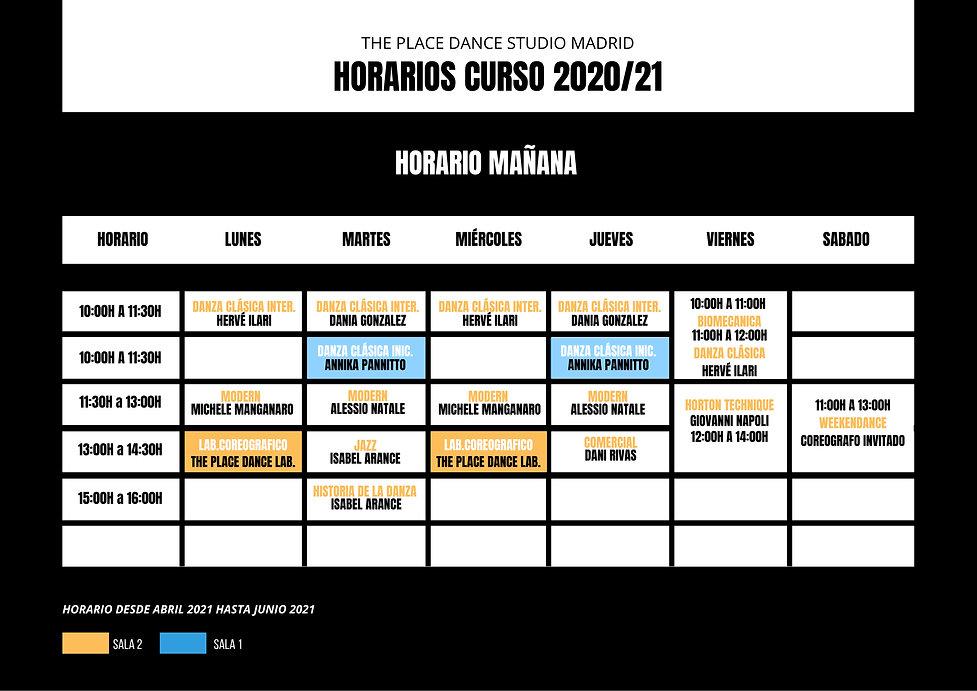 Mañana ABRIL_JUNIO Horarios Curso 2020_2