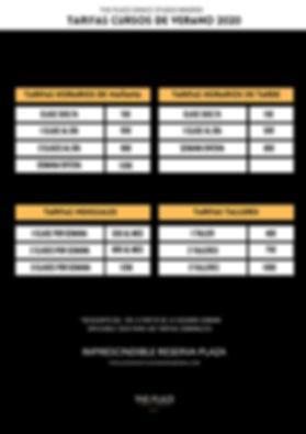 vertical Horarios y tarifas cursos de ve