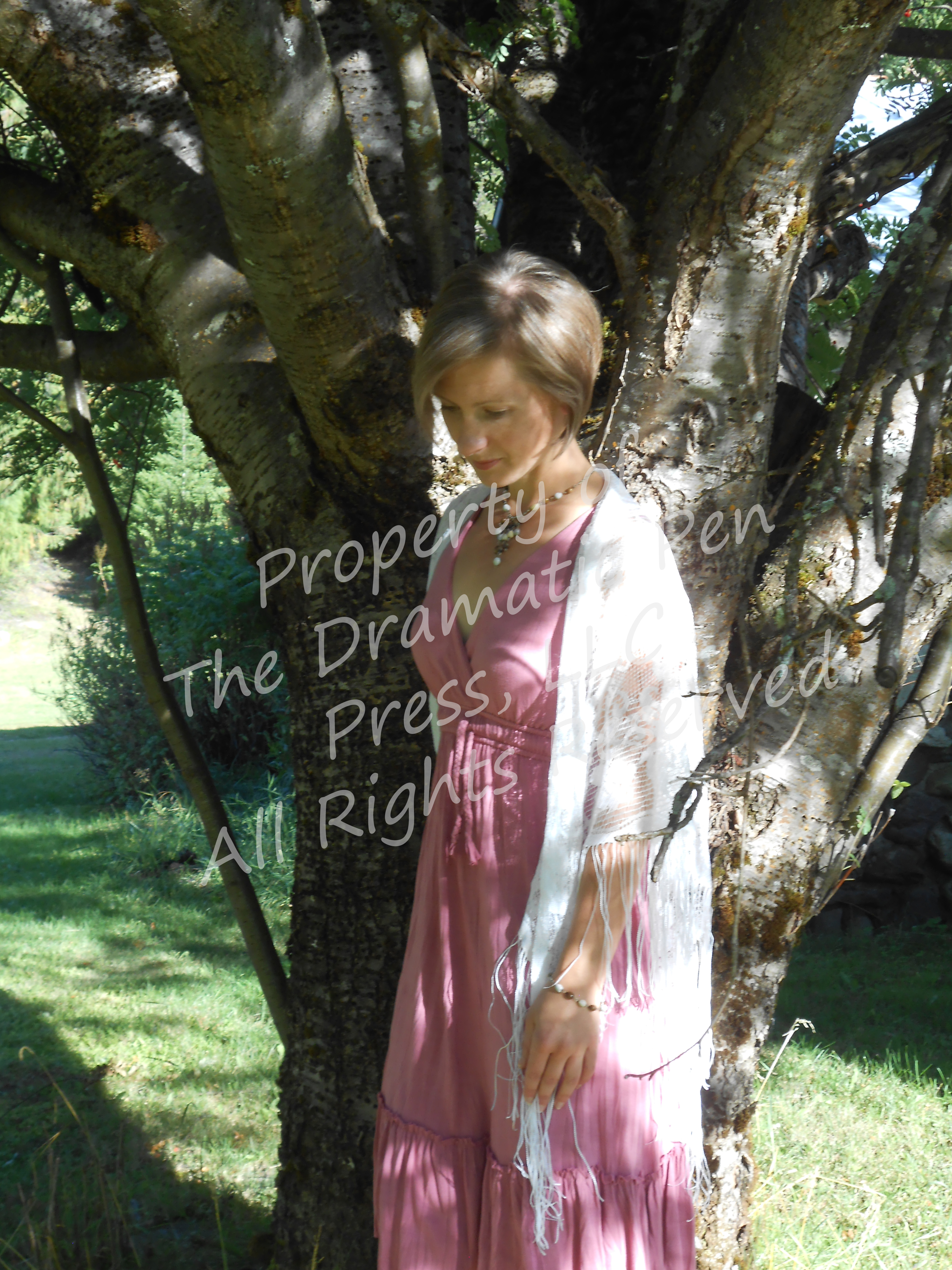 Woman Pink White by Tree